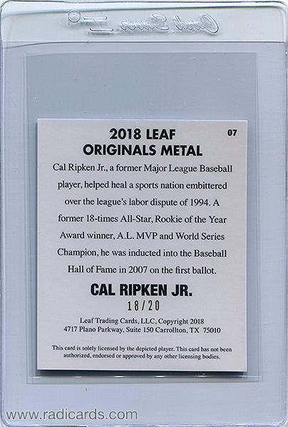 Cal Ripken Jr. 2018 Leaf Originals Metal '48 #07 Blue /20