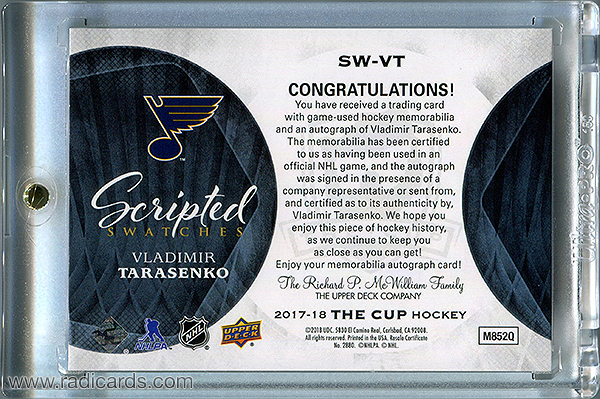 Vladimir Tarasenko 2017-18 The Cup Scripted Swatches #SW-VT /35
