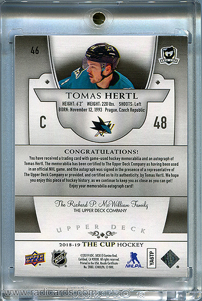 Tomas Hertl 2018-19 The Cup #46 Black Shield /1