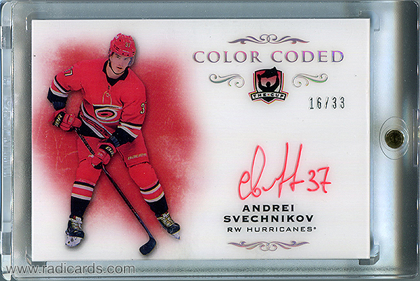 Andrei Svechnikov 2018-19 The Cup Color Coded Autographs #CC-AS /33