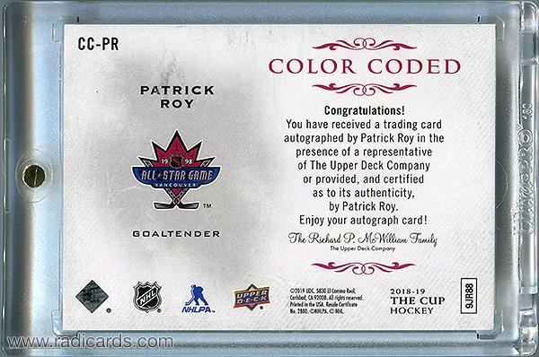 Patrick Roy 2018-19 The Cup Color Coded Autographs #CC-PR /22