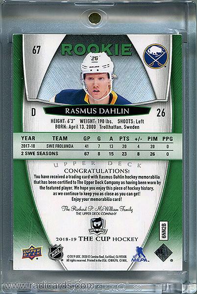 Rasmus Dahlin 2018-19 The Cup #67 Green Button /3