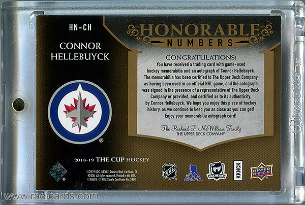 Connor Hellebuyck 2018-19 The Cup Honorable Numbers #HN-CH /37