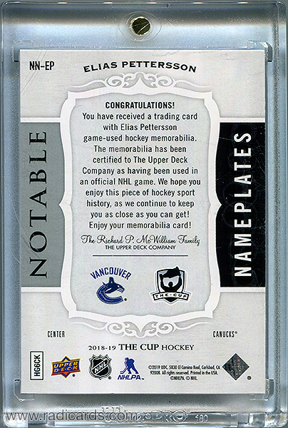 Elias Pettersson 2018-19 The Cup Notable Nameplates #NN-EP /10