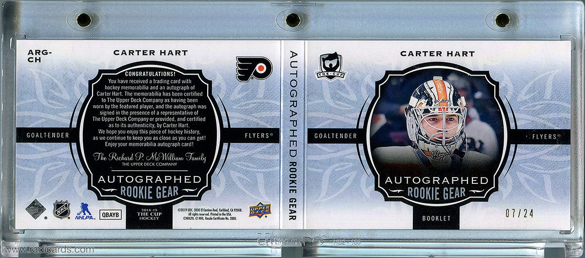 Carter Hart 2018-19 The Cup Rookie Gear Relic Autographs #ARG-CH /24