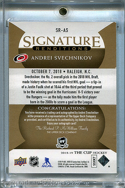 Andrei Svechnikov 2018-19 The Cup Signature Renditions #SR-AS
