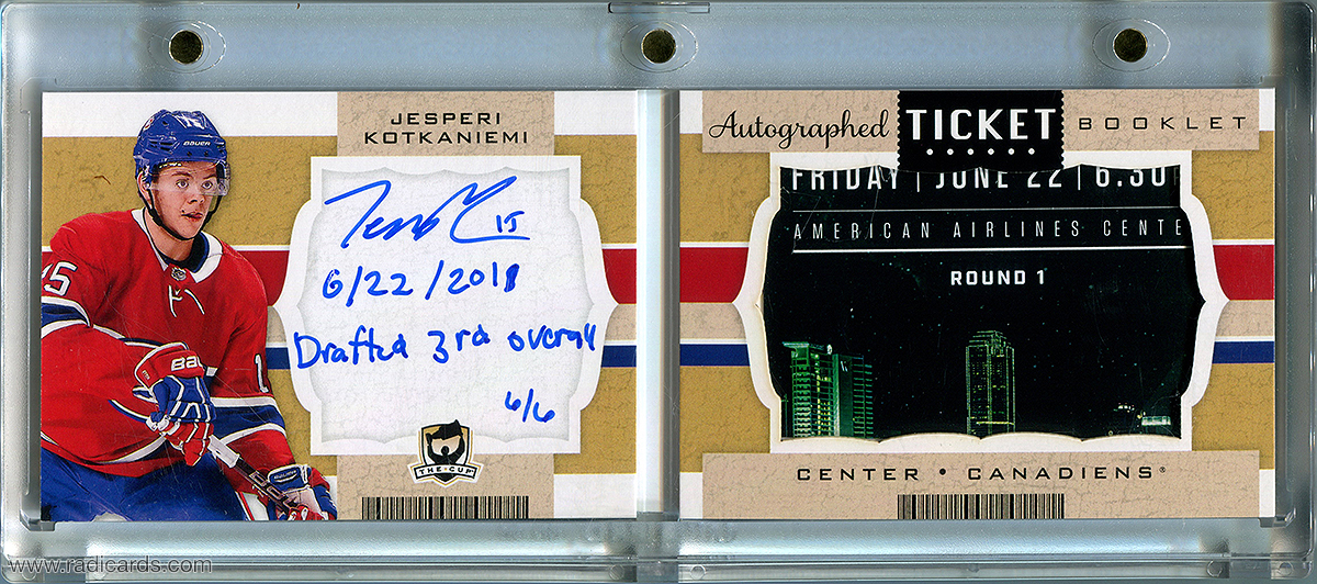 Jesperi Kotkaniemi 2018-19 The Cup Ticket Autographs #TB-JK /6