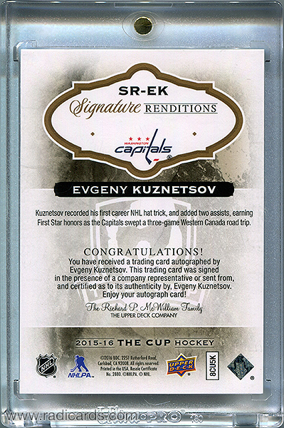 Evgeny Kuznetsov 2015-16 The Cup Signature Renditions #SR-EK
