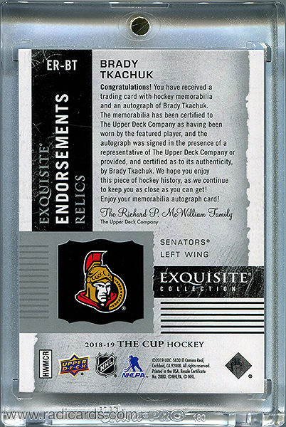 Brady Tkachuk 2018-19 Exquisite Collection Endorsements Relics #ER-BT /50