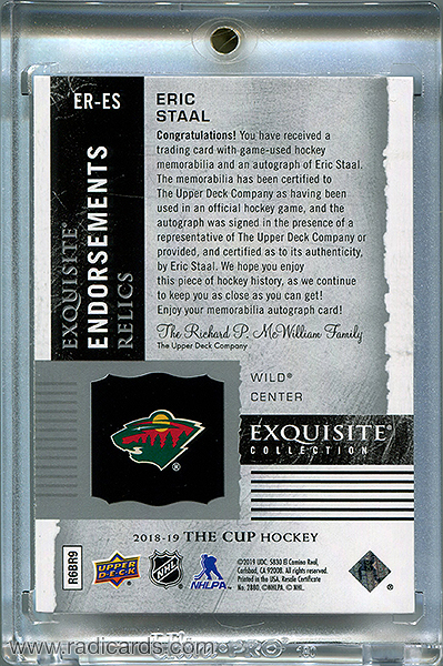 Eric Staal 2018-19 Exquisite Collection Endorsements Relics #ER-ES /50