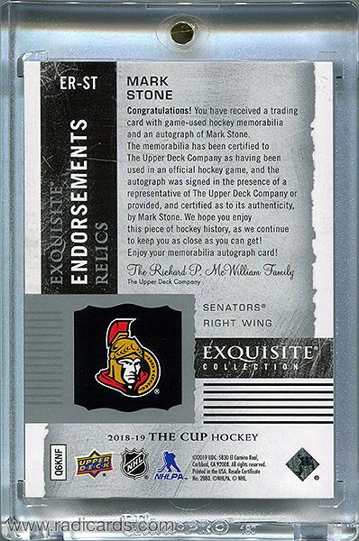 Mark Stone 2018-19 Exquisite Collection Endorsements Relics #ER-ST /50