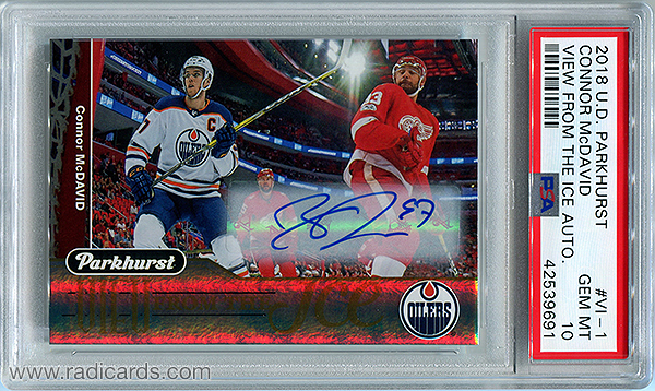 Connor McDavid 2018-19 Parkhurst View from the Ice #VI-1 Autographs PSA 10