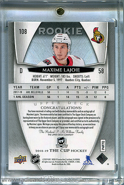 Maxime Lajoie 2018-19 The Cup #108 /249