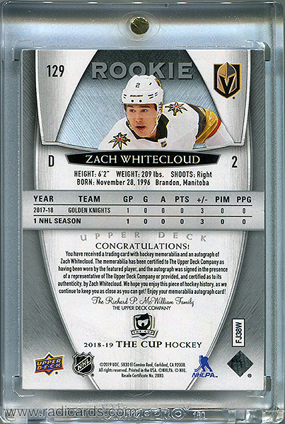 Zach Whitecloud 2018-19 The Cup #129 /249