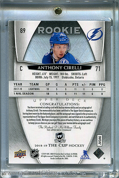 Anthony Cirelli 2018-19 The Cup #89 /249