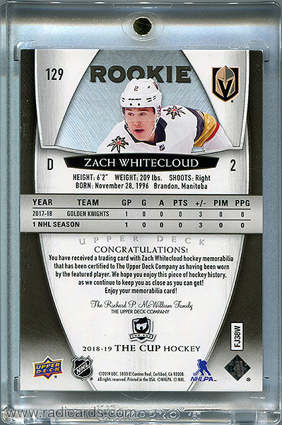 Zach Whitecloud 2018-19 The Cup #129 Black Shield /1