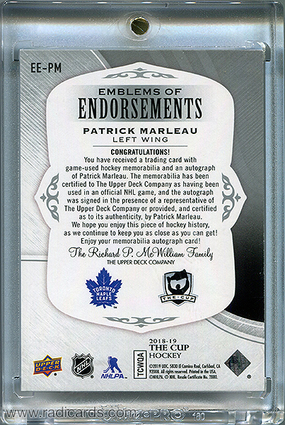 Patrick Marleau 2018-19 The Cup Emblems of Endorsement #EE-PM /15