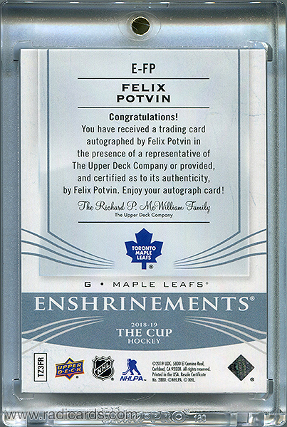 Felix Potvin 2018-19 The Cup Enshrinements #E-FP /99