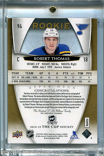 Robert Thomas 2018-19 The Cup #94 Gold /24