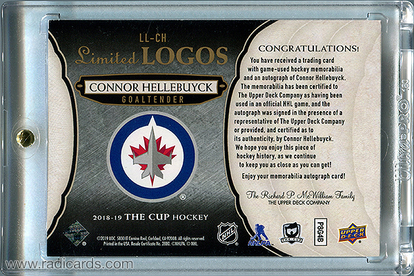 Connor Hellebuyck 2018-19 The Cup Limited Logos Autographs #LL-CH /50