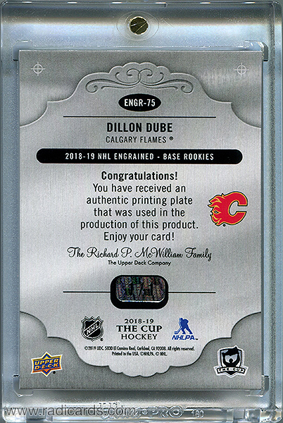 Dillon Dube 2018-19 The Cup Printing Plates Engrained Yellow #ENGR-75 /1