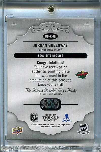 Jordan Greenway 2018-19 The Cup Printing Plates Exquisite Collection Rookies Magenta #BD-R-JG /1