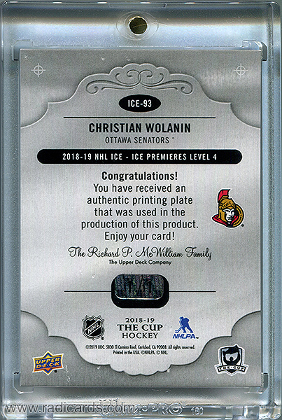 Christian Wolanin 2018-19 The Cup Printing Plates Upper Deck Ice Cyan #ICE-93 /1