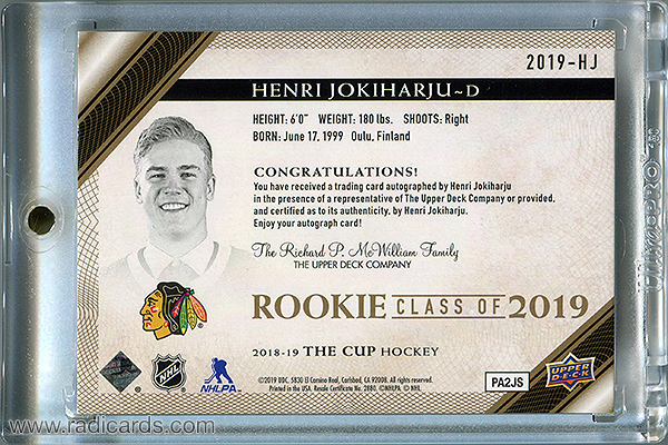 Henri Jokiharju 2018-19 The Cup Rookie Class of 2019 #2019-HJ Gold /75