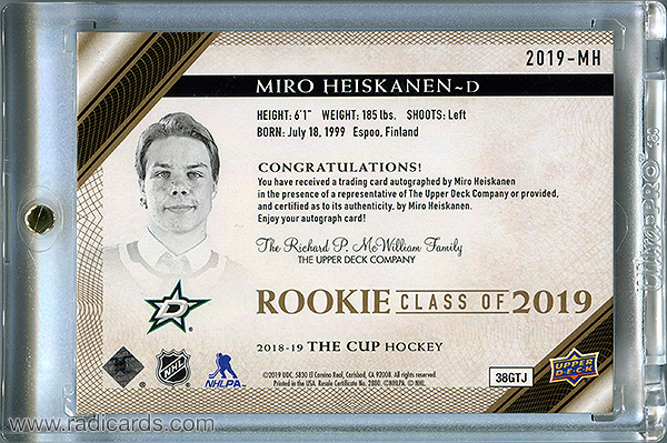 Miro Heiskanen 2018-19 The Cup Rookie Class of 2019 #2019-MH Gold /75