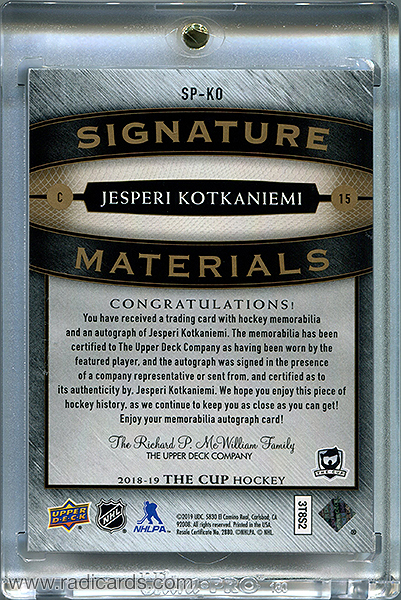 Jesperi Kotkaniemi 2018-19 The Cup Signature Materials #SP-KO /99