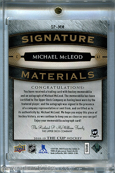Michael McLeod 2018-19 The Cup Signature Materials #SP-MM /99