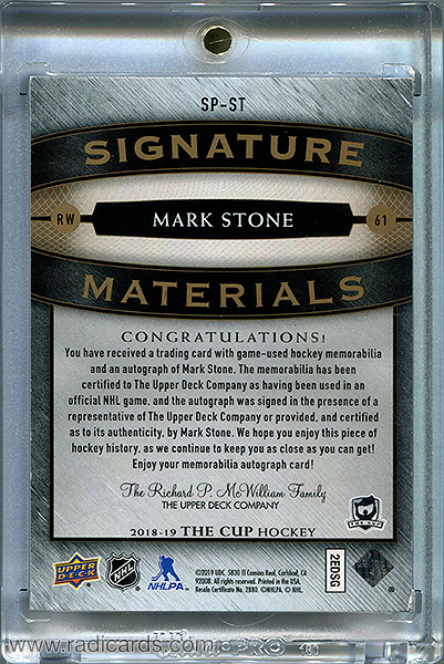 Mark Stone 2018-19 The Cup Signature Materials #SP-ST /25