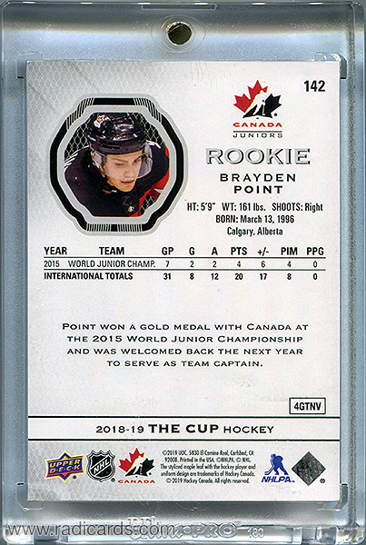 Brayden Point 2018-19 The Cup Team Canada Juniors Rookie Tribute #142 /149