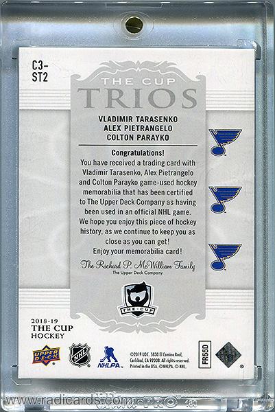 Vladimir Tarasenko/Alex Pietrangelo/Colton Parayko 2018-19 The Cup Trios Jerseys #C3-ST2 /33