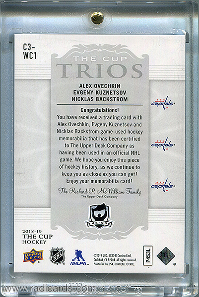 Alexander Ovechkin/Evgeny Kuznetsov/Nicklas Backstrom 2018-19 The Cup Trios Jerseys #C3-WC1 /33