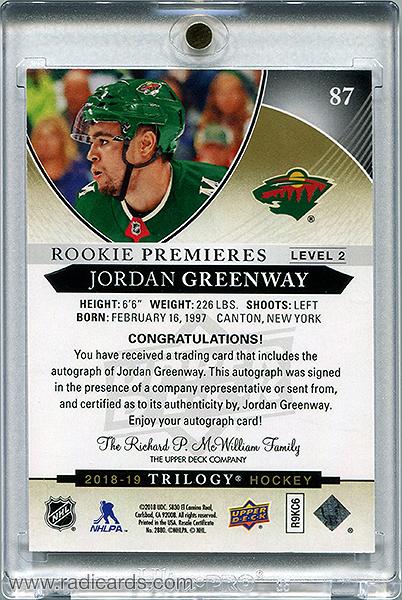 Jordan Greenway 2018-19 Upper Deck Trilogy #87 /399