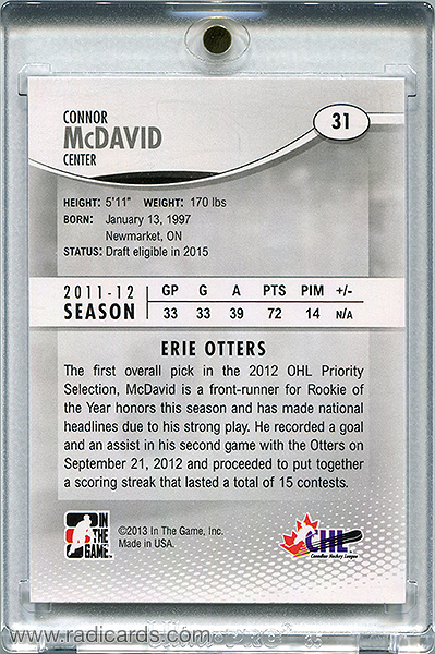 Connor McDavid 2012-13 ITG Heroes and Prospects #31