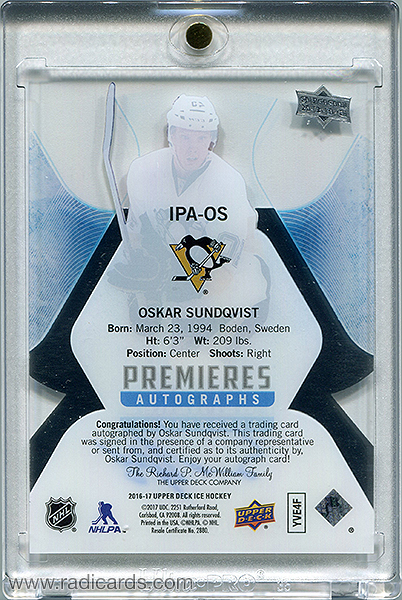 Oskar Sundqvist 2016-17 Upper Deck Ice Ice Premieres Autographs #IPA-OS /299