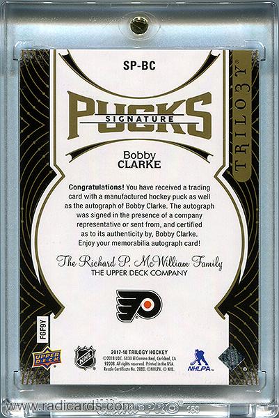 Bobby Clarke 2017-18 Upper Deck Trilogy Signature Pucks #SP-BC