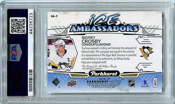 Sidney Crosby 2018-19 Parkhurst Ice Ambassadors #IA-1 Autographs PSA 10