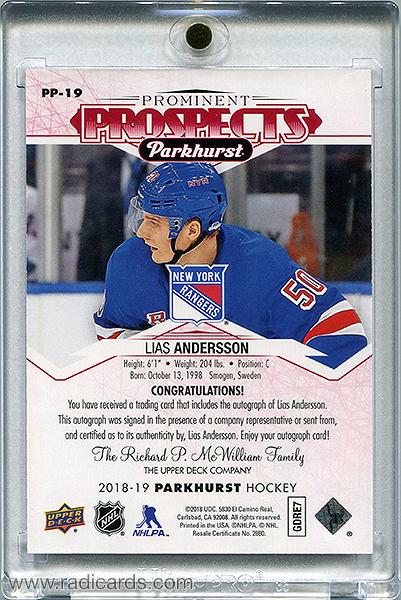 Lias Andersson 2018-19 Parkhurst Prominent Prospects PP-19 Autographs Red /25