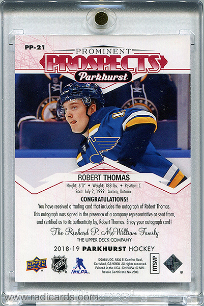 Robert Thomas 2018-19 Parkhurst Prominent Prospects PP-21 Autographs Red /25