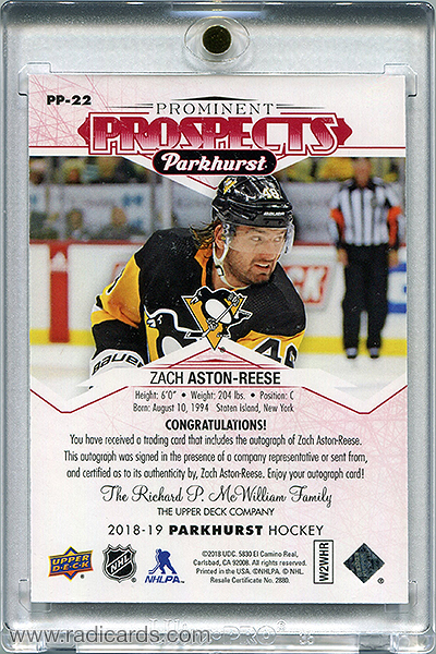 Zach Aston-Reese 2018-19 Parkhurst Prominent Prospects PP-22 Autographs Red /25