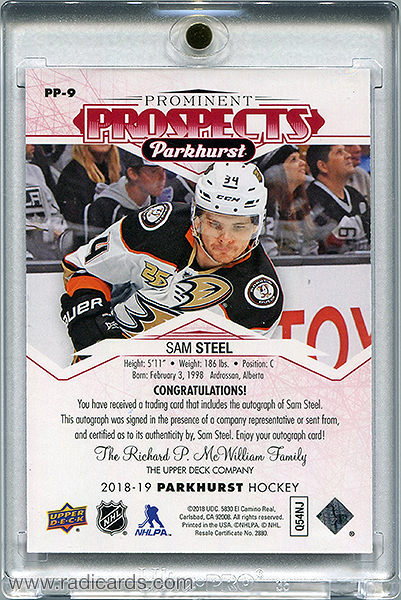 Sam Steel 2018-19 Parkhurst Prominent Prospects PP-9 Autographs Red /25