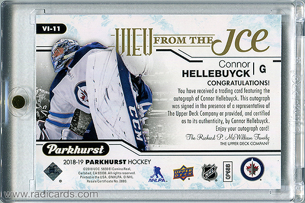 Connor Hellebuyck 2018-19 Parkhurst View from the Ice #VI-11 Autographs