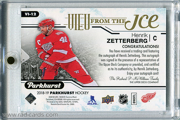Henrik Zetterberg 2018-19 Parkhurst View from the Ice #VI-12 Autographs