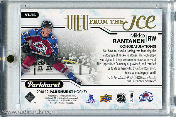 Mikko Rantanen 2018-19 Parkhurst View from the Ice #VI-15 Autographs