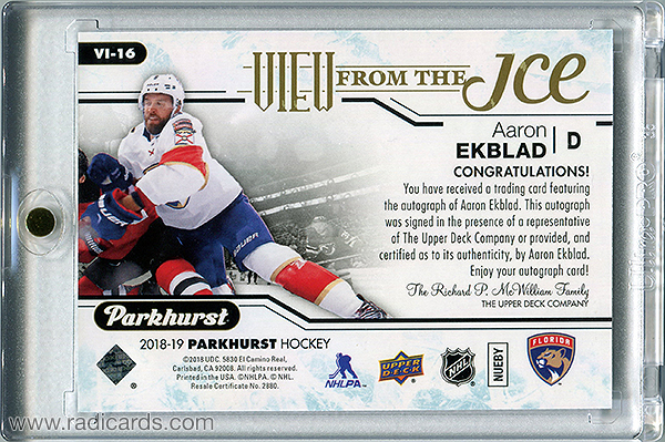 Aaron Ekblad 2018-19 Parkhurst View from the Ice #VI-16 Autographs