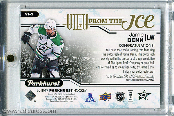 Jamie Benn 2018-19 Parkhurst View from the Ice #VI-2 Autographs