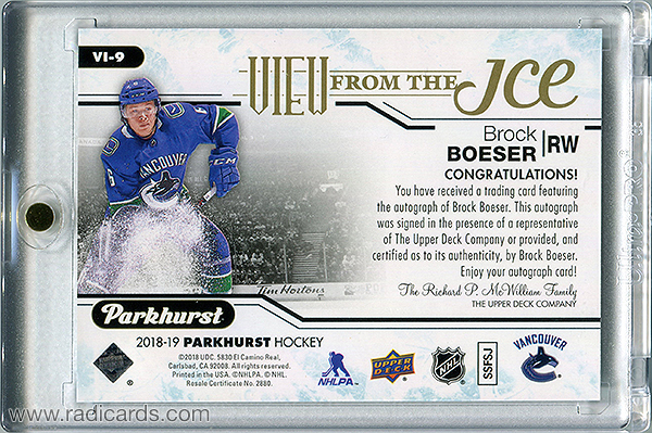 Brock Boeser 2018-19 Parkhurst View from the Ice #VI-9 Autographs